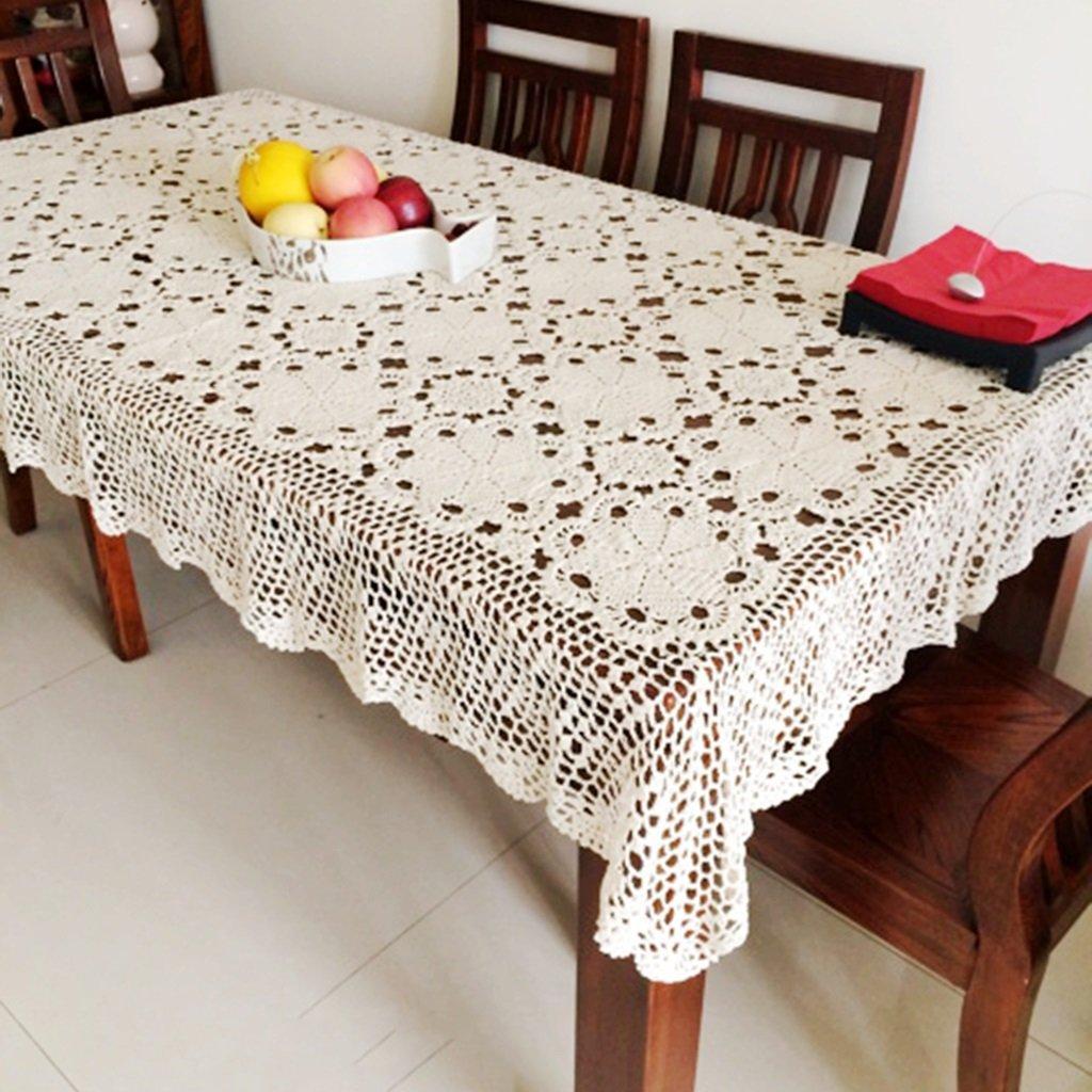 Manteles Tela hecha a mano de flores de ganchillo tela cubierta Tela de algodón retro de encaje mesa tejida (Color : Blanco , Tamaño : 100*180cm) : ...