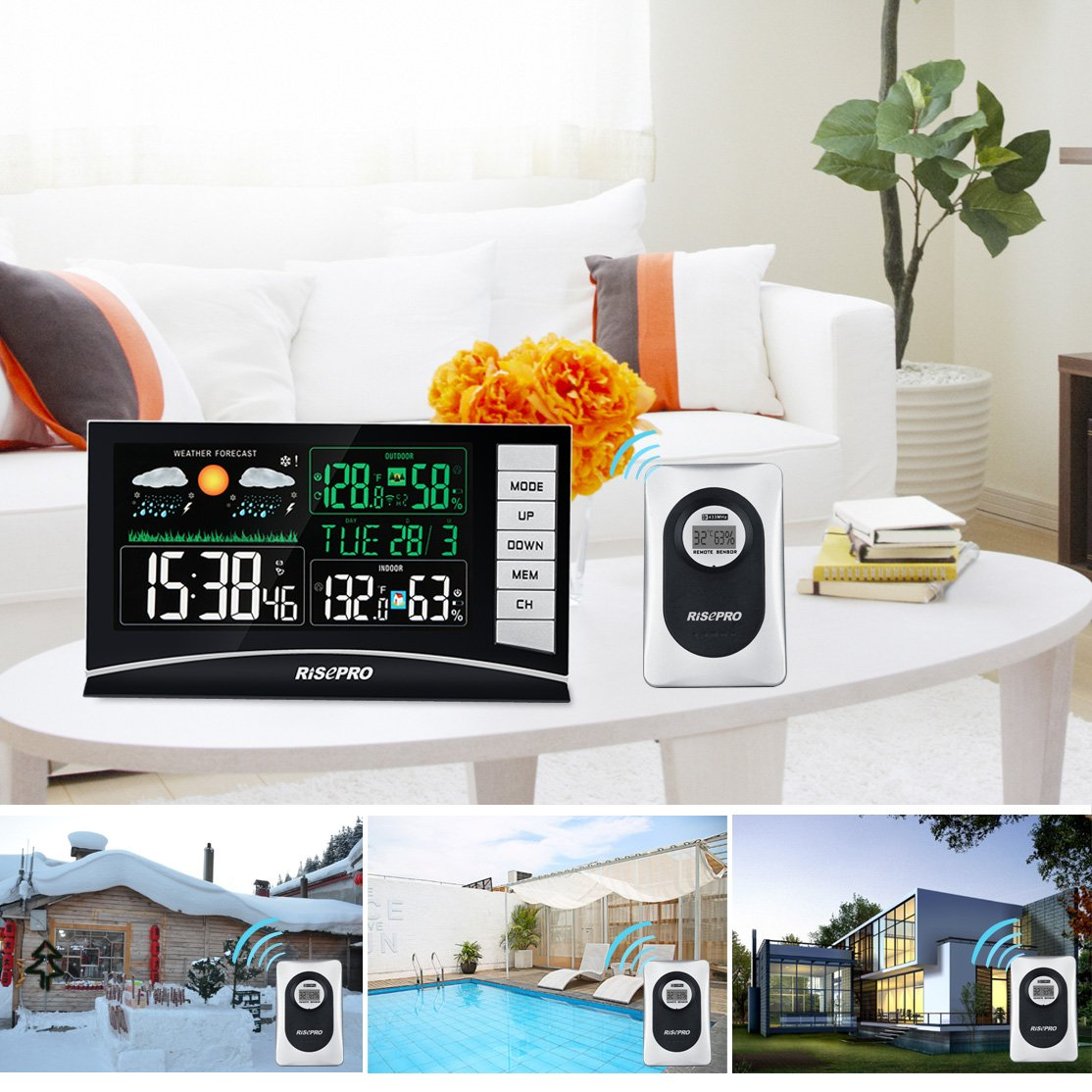 RISEPRO Weather Station, Wireless Weather Station with 3 Sensors in/Out Temperature and Humidity Alarm Clock Calendar Weather Forecaster with Color Led Display RP-WS2003 by RISEPRO (Image #5)