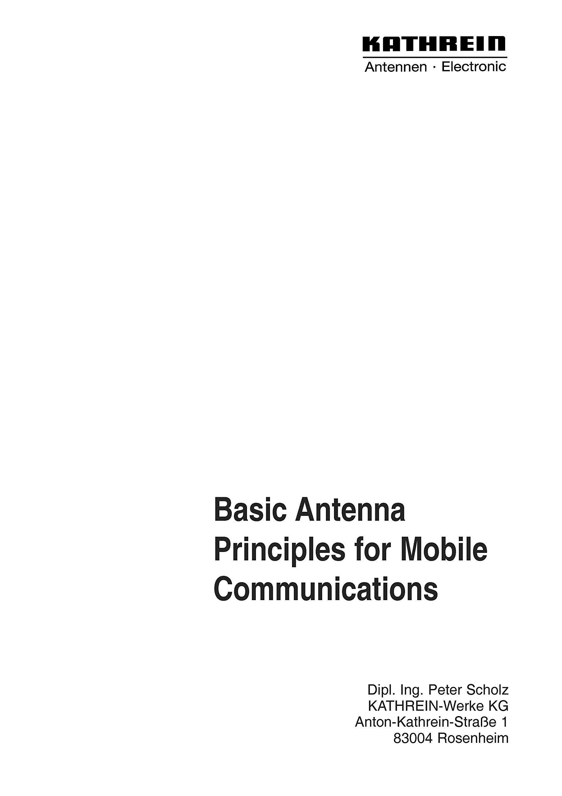 Basic Antenna Principles for Mobile Communications (Kathrein) [Loose ...