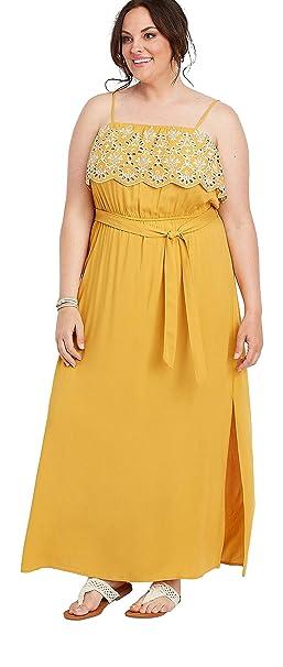 maurices Women\'s Plus Size Yellow Eyelet Trim Maxi Dress