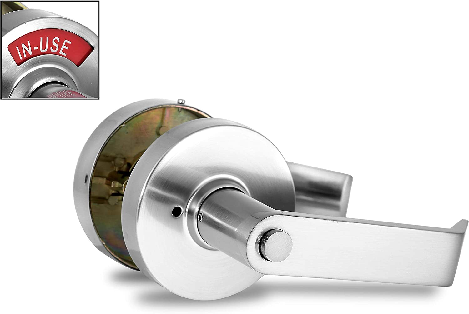 Antique Brass VIZILOK Privacy Indicator Lock C3FB Commercial Grade Left Right Reversible in-USE or Vacant Occupancy Indicator Stainless Steel Lock and Lever