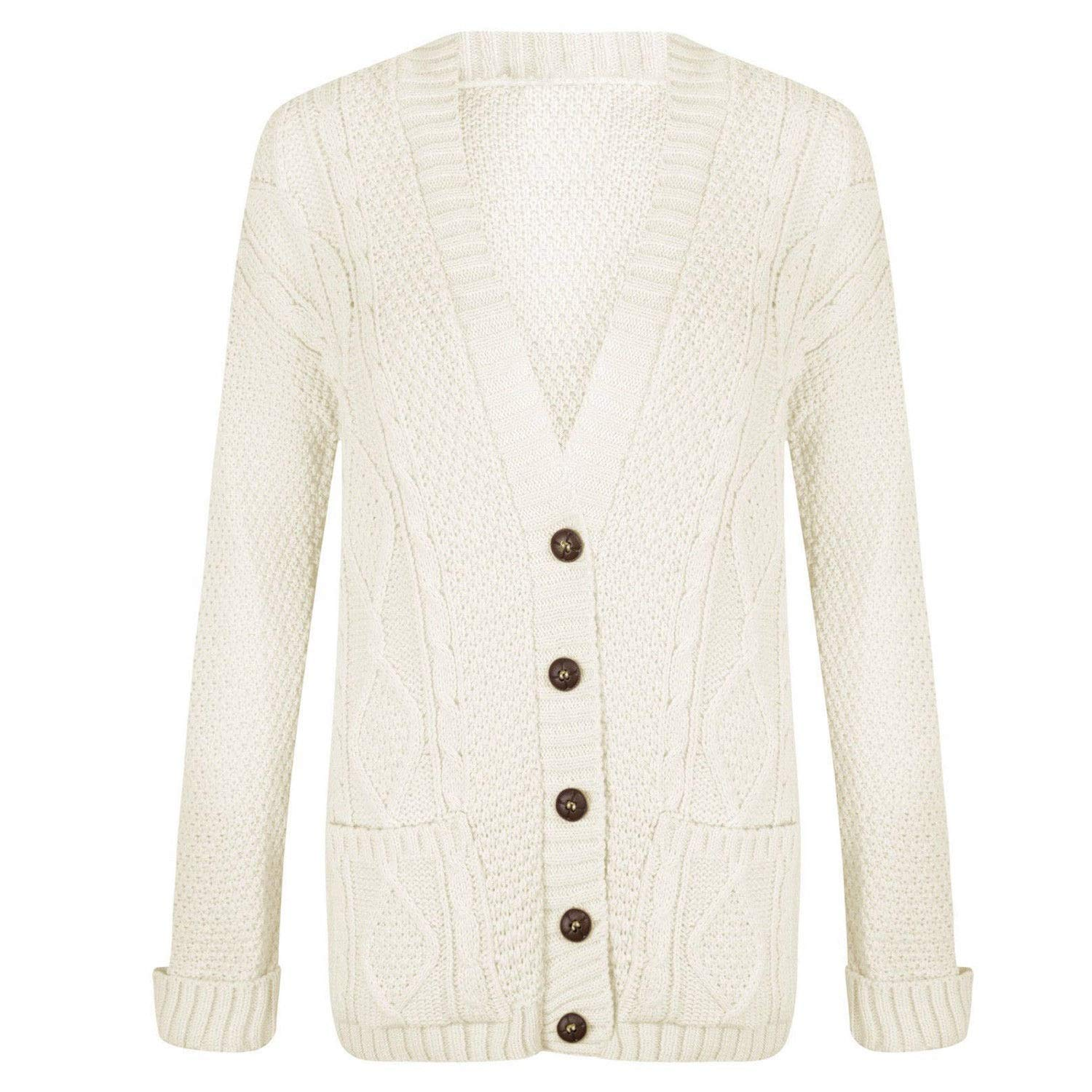 Top Fashion18 Womens Cable Knitted Button Cardigan Long Sleeve Ladies Boyfriend Top Sizes 8-22
