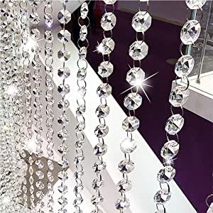 3FT CLEAR GLASS BEAD 6MM CRYSTAL CHANDELIER PART WEDDING GARLAND SILVER CHAIN