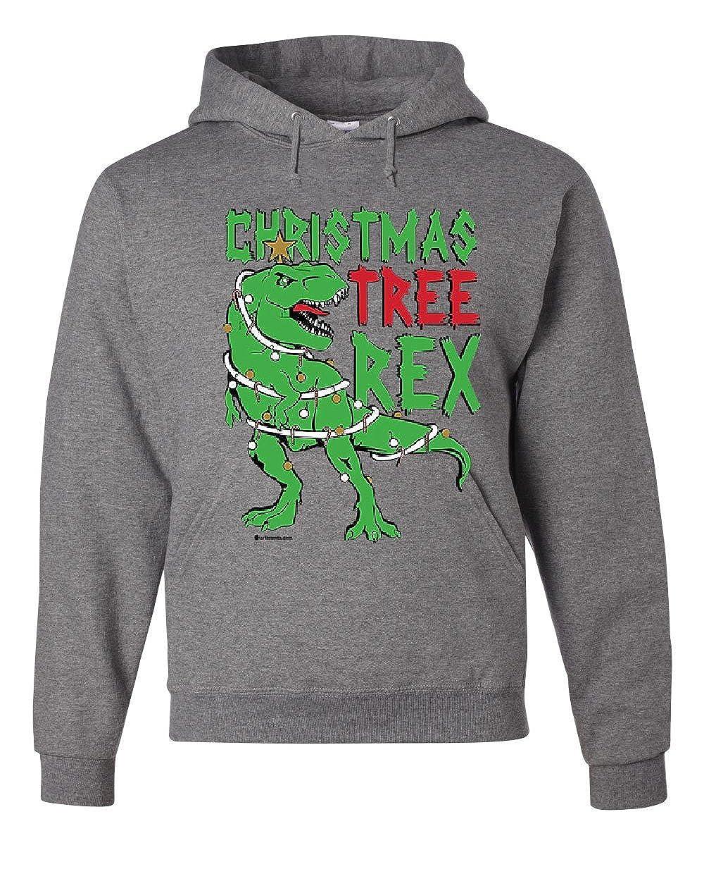 Tee Hunt Christmas Tree Rex Hoodie Funny T-Rex Xmas Tree Holidays Santa 105049-S
