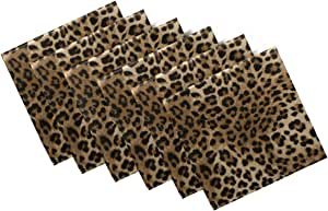 Amazon Com Naanle Animal Print Cloth Napkins Dinner Table Napkins Set Of 6 Leopard Solid Washable Reusable Polyester Napkins With Hemmed Edges For Home Holiday Party Wedding Oversized 20 X 20 In Home