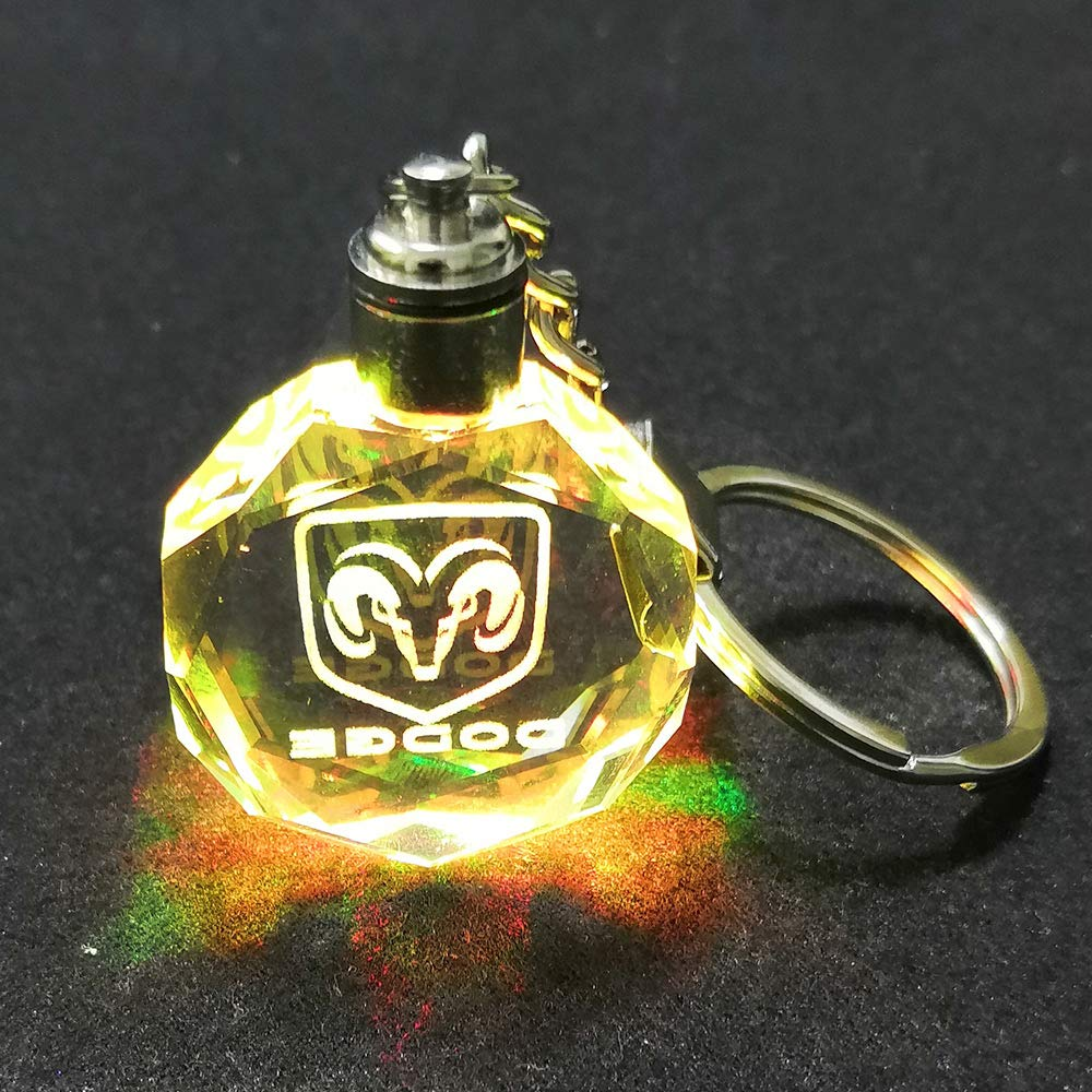 VILLSION Upgradetion LED Car Key Chain Logo Keyring Accessories Auto Keychain Gift with Box Color Changing Crystal Light
