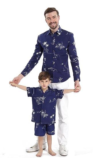 5230ec9c Matching Father Son Hawaiian Luau Outfit Men Shirt Boy Shirt Only Navy  Classic Flamingo S-