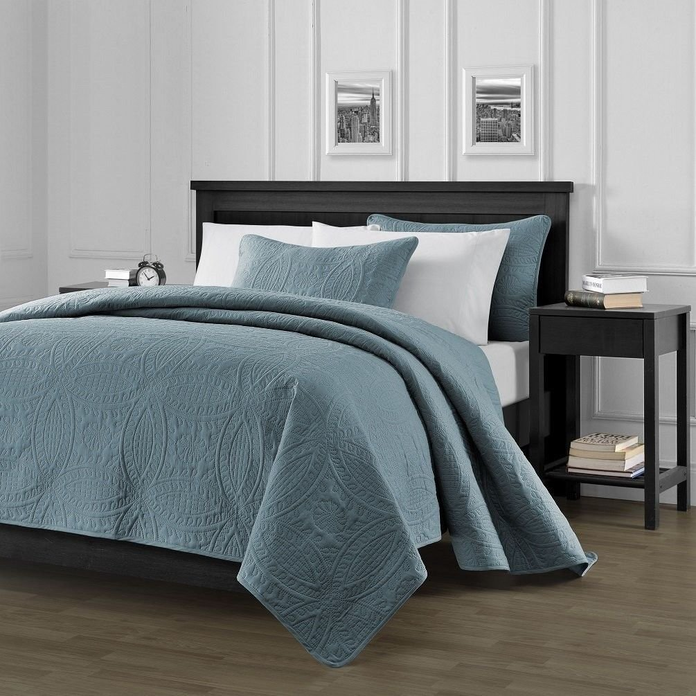 Chezmoi Collection Austin 3-Piece Oversized Bedspread Coverlet Set King, Spa Blue