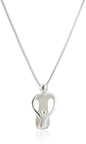 """Sterling Silver """"Loving Family"""" Mother with One Child Pendant Necklace, 18"""""""