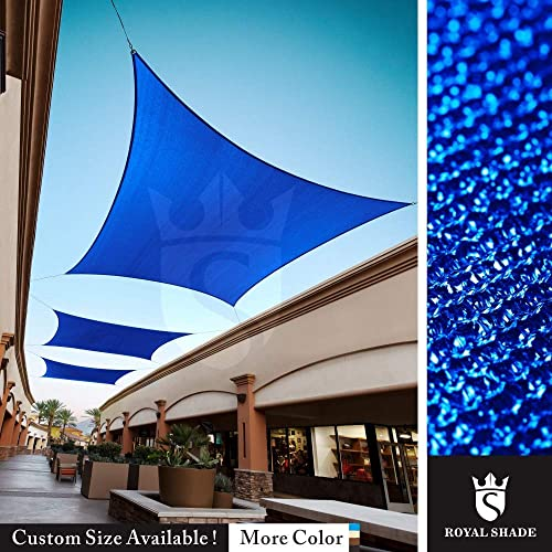 Royal Shade Custom Size Order to Make Sun Shade Sail Canopy Mesh Fabric UV Block Rectangle – Commercial Standard Heavy Duty – 200 GSM – 5 Years Warranty 24 x 24 , Blue