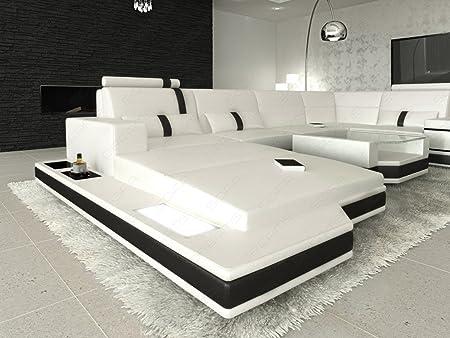 MEGA Conjunto de Muebles Para Salón messana forma de U Blanco Negro Sofá esquinero con iluminación LED