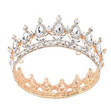 Amazon.com   Stuffwholesale Gold Crystal Crown Tiaras Prom Party Wedding  Bridesmaid Hair Jewelry (Crystal)   Beauty 7c7bf571a2fa