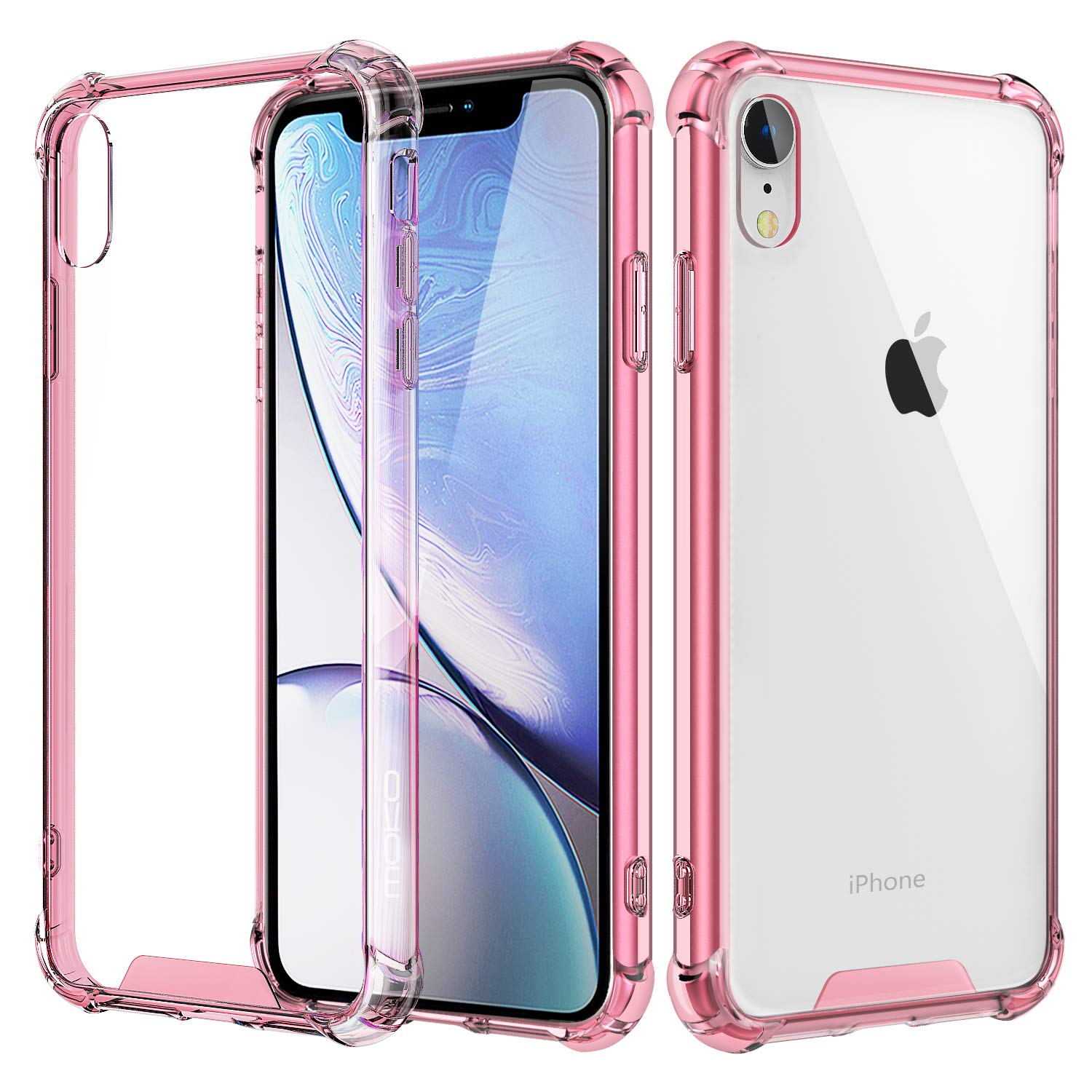 MoKo Compatible with iPhone XR Case, Crystal Clear Reinforced Corners TPU Bumper + Anti-Scratch Hybrid Rugged Transparent Hard Panel Cover Fit with Apple iPhone XR 6.1 inch 2018 - Crystal Clear Moko Cases 736313067200181031
