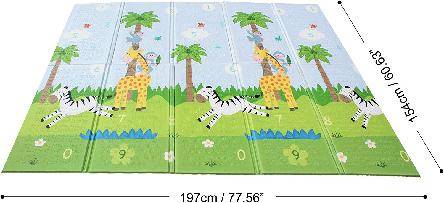 Juego de Gateo de Espuma Impermeable Grande Bolsa de Almacenamiento One Size PS-PM001 2 Lados Alfombra de Piso de Gimnasio Sunny Safari Fantasy Fields by Teamson