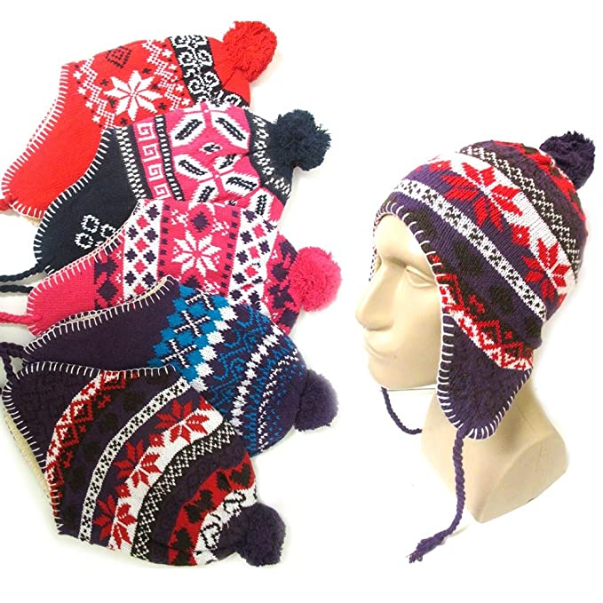 53df61f2d7f4e Amazon.com   1 Peruvian Winter Earflap Muff Ski Hat Skully Beanie Cap Snow  Womens Mens Cozy   Sports   Outdoors