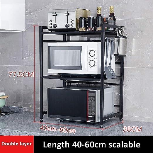KTYXDE Estante de Cocina de 2 Capas para microondas con Gancho de ...