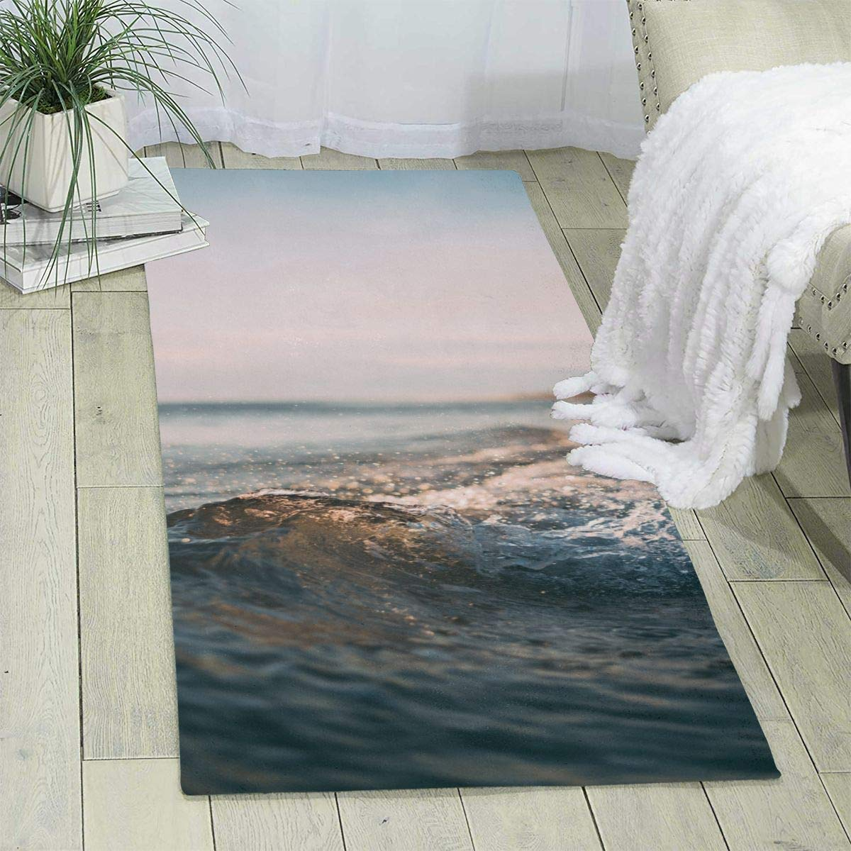 Amazon.com: Workout Mat for Yoga, Seaside Water Wave Print ...