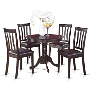 East West Furniture 5-Piece Kitchen Table Set, Cappuccino Finish, Leather Seat,
