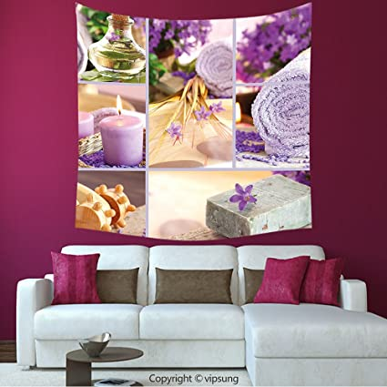 House Decor Square Tapestry Spa Decor Lavender Themed Relaxing Joyful Spa Day With Aromatherapy Oils And Candles Purple And White Wall Hanging For Bedroom Living Room Dorm Amazon Co Uk Kitchen Home