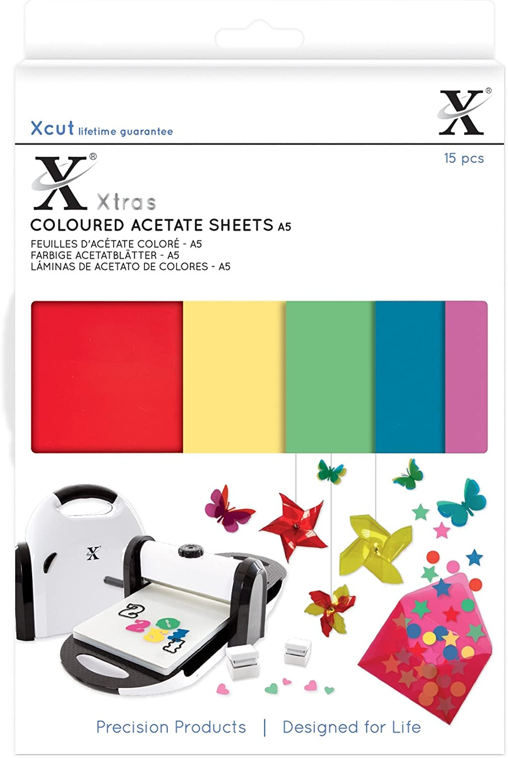 Multicolor DOCrafts XCU174401 Xcut Xtra A5 Colored Acetate Sheets 15 Pack