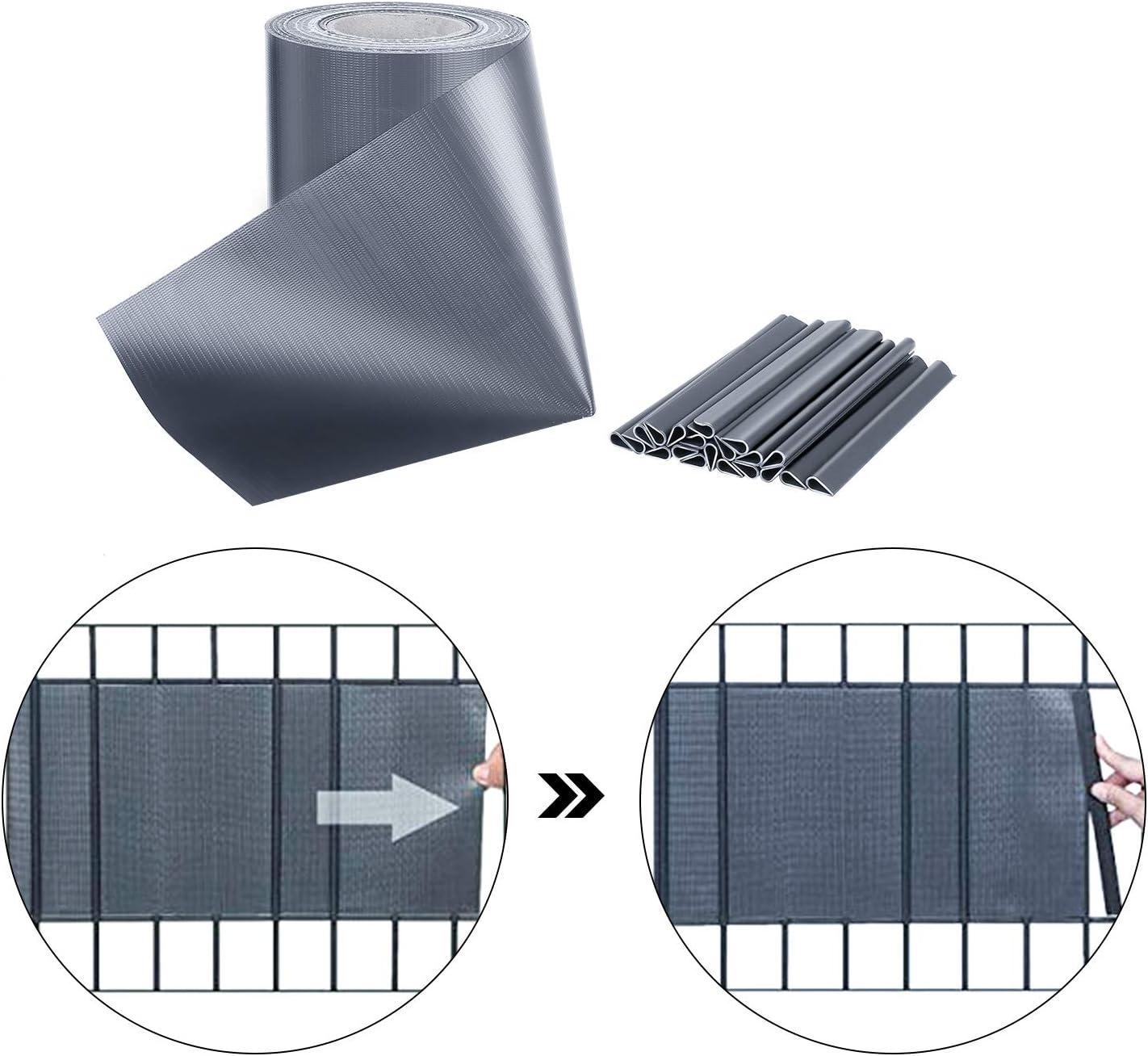 PVC Paravista con 30clip Impermeabile Schermo Privacy Peso 450 g//m/² Pannello Recinzione Antracite per Terrazze e Balconi FIXKIT Schermi Divisori e Protettivi 350cm x 19cm Frangivista e Frangivento