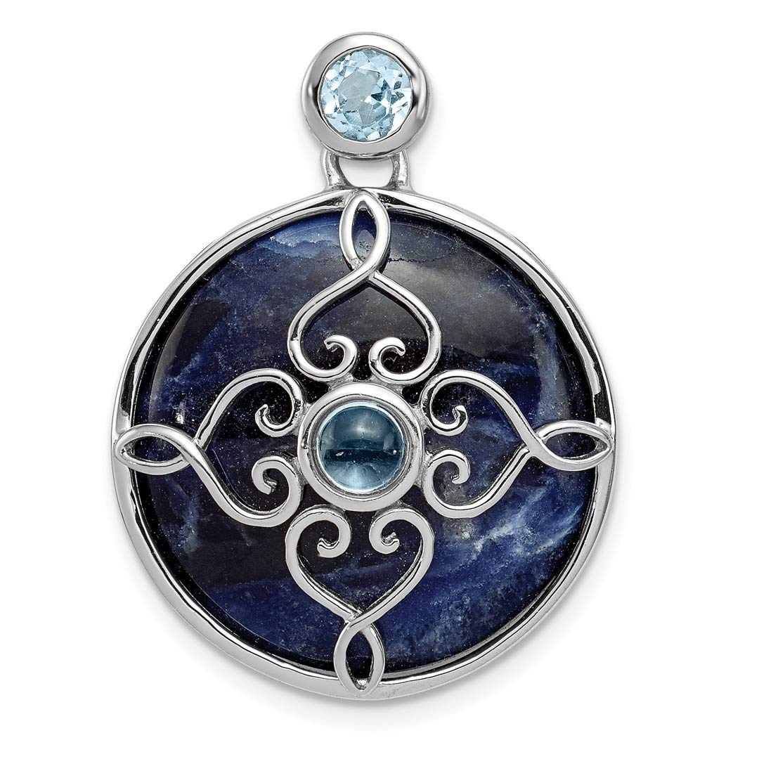 925 Sterling Silver Blue Topaz Round Pendant Charm Necklace Gemstone Fine Jewelry Gifts For Women For Her