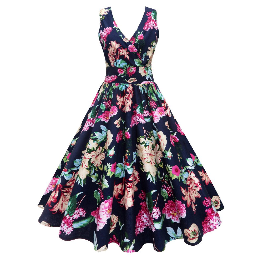 Nmch Summer Women's Plus Size Floral Print Midi Dress Vintage V-Neck Sleeveless Party Prom Swing Dresses 2019 New(Navy,XL)
