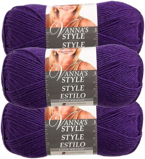 3pk Lion Brand Vanna/'s Style 100/% Acrylic Yarn Light #3 Knit Crochet Skeins Soft