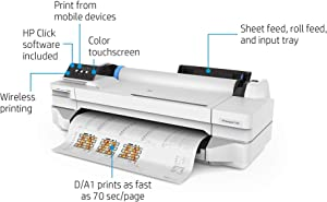 HP DesignJet T100 Large Format Compact Wireless Plotter Printer - 24 inch, with Mobile Printing (5ZY56A)