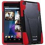 Fosmon Hybo-V Étui de protection hybride pour Google Nexus 7 II FHD 2 (2013) Double protection TPU et polycarbonate Fonction support  - - rot