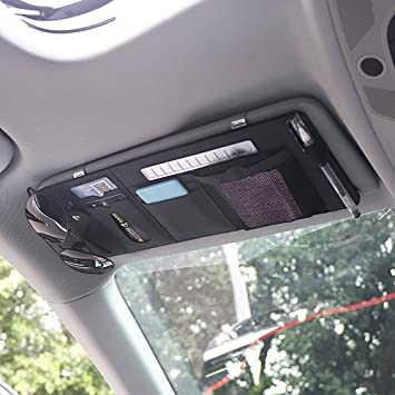 LOCEN Auto Sonnenblende Organizer Automotive Kofferraumtaschen Sonnenbrille f/ür Visitenkarten Scheckkarten Parkscheine Schwarz