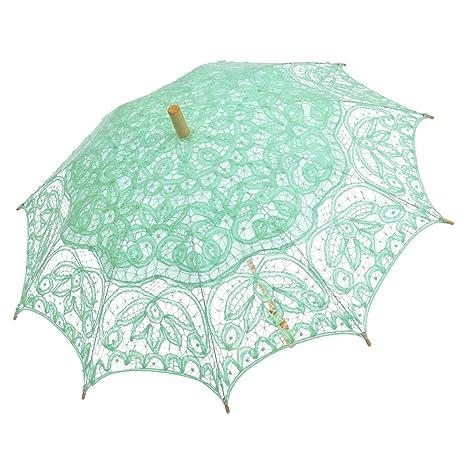 Remedios Battenburg Parasol Paraguas del Cordón Para la Decoración de Boda Fiesta Nupcial Menta verde