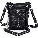 Steampunk Leather Crossbody Shoulder Tote Handbag Messenger Gothic Rock Waist Bag Fanny Pack Motorcycle Drop Leg Bag Hip Holster Belt Purse Pouch Chain Rivet Travel Wallet for Women Men (Mamba)