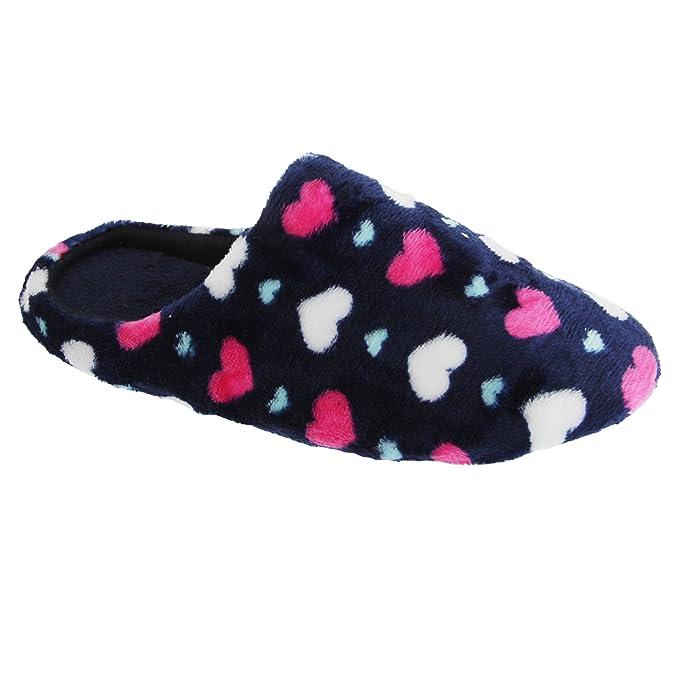 Slumberzzz - Zapatillas de andar por casa con diseño de corazones para mujer: Amazon.es: Ropa y accesorios