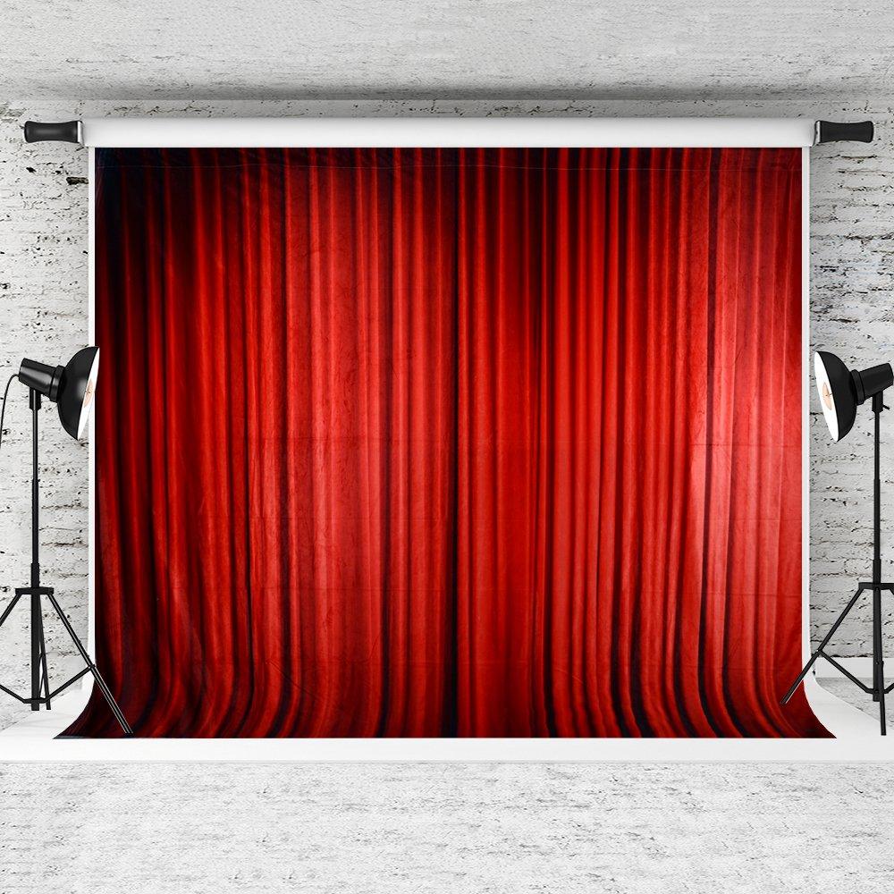 ケイト10 x 6.5ftレッドカーテンステージBackdrops同窓会パーティー写真ブース小道具写真バックドロップ背景   B071ZVF12Y