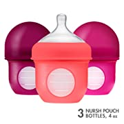 Boon, NURSH Reusable Silicone Pouch Bottle, Air-Free Feeding, 4 Ounce with Stage 1 Slow Flow Nipple (Pack of 3)