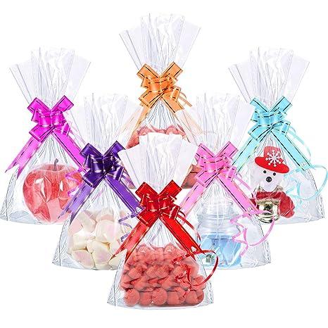 Bolsas de Celofán, INTVN 200 Piezas 15 x 20 cm Treat Bags de Fondo de Bloque Transparente Bolsa de Dulces/Fiesta/Regalo/Hogar con Lazos de Bolsa ...