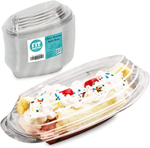 [100 Pack] Banana Split Boat Plate 8oz and 12oz - Clear PET Plastic Disposable Ice Cream Sundae Splits Bowl Tray for Gelato Parlors, Cafes, Parties, Home and Restaurants