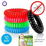 Natural Mosquito Repellent Bracelets 10 Pack Deet Free Travel Insect Repellent Design Natural Mosquito Repellent Bracelet Waterproof bands Suitable For Adults and Kid's Mosquito Repellent Bug Repellent Insect Repellent Botanical With 350 Hours Use Per Bracelet Best For Indoor And Outdoor
