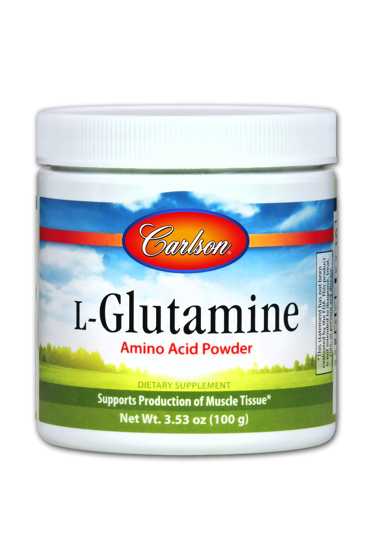 Carlson L-Glutamine Powder 3 g, Amino Acid Powder, 100 g Jar