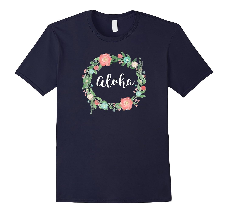 Aloha tshirt Hawaii style Lei-like Floral ring flower circle-TH