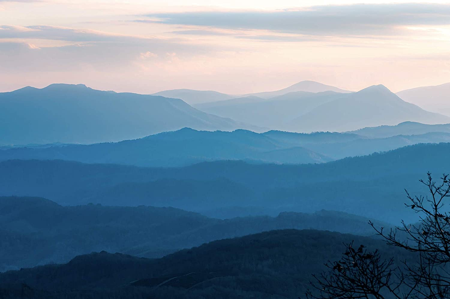 Wall Art Gallery Prints - Blue Ridge Mountain Range Sunset Landscape Photo - Nature Decor Artwork for Living Room Bedroom Office Home -Lustre Photos Metallic Print or Canvas Pictures for Decorations