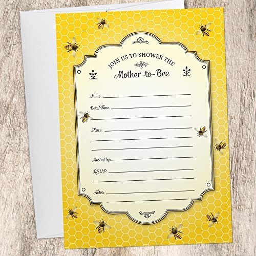 Amazon Com Honeybee Baby Shower Invitation Set Of 10 Fill In Style