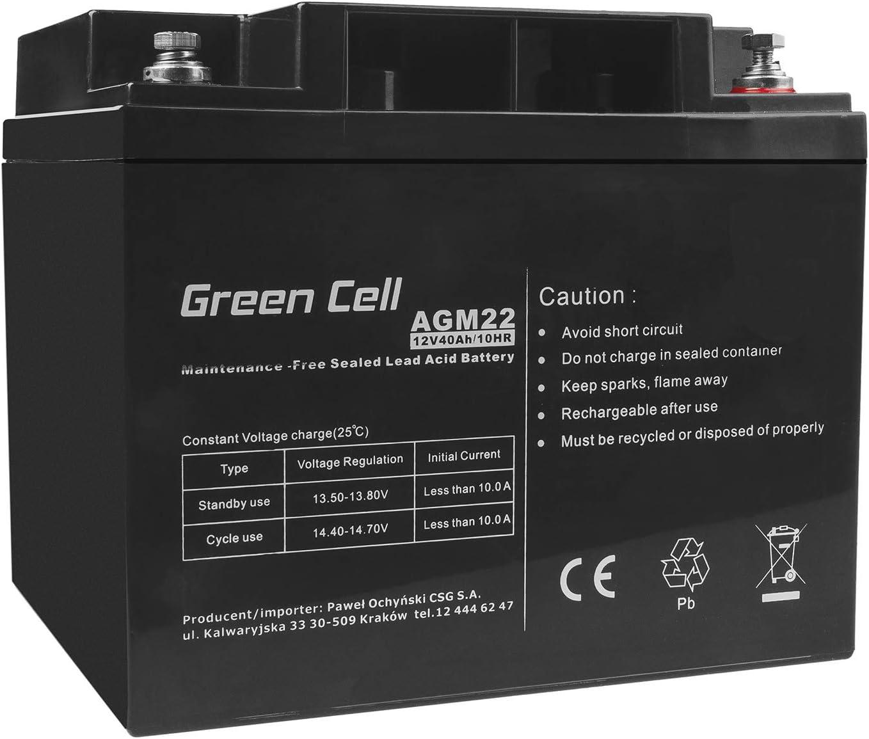 Green Cell Recambio de Batería Gel AGM 12V 40Ah Rechargeable Pila Sellada de Plomo ácido batería sin Mantenimiento Batería de Reemplazo para Sillas de Ruedas Solar Carro de Golf
