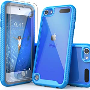 IDYStar iPod Touch 7th Generation Case, 2 in 1 Shockproof iPod Case with 2 HD Screen Protectors, Hybrid Heavy Duty Protection Shock Resistant Cover for iPod Touch 5/6/7th Generation, Sky Blue