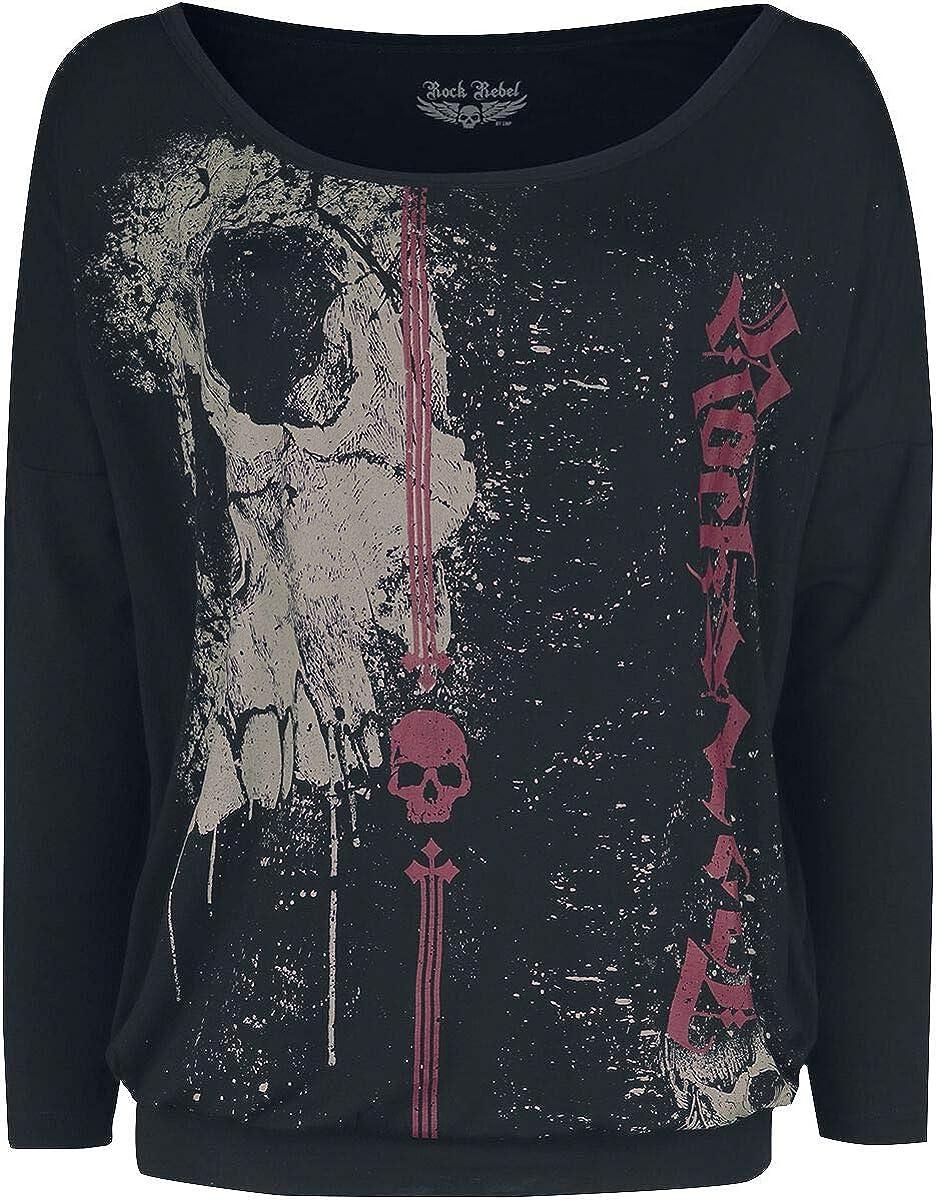 Rock Rebel by EMP Fast and Loose Mujer Camiseta Manga Larga Negro, Ancho: Amazon.es: Ropa y accesorios