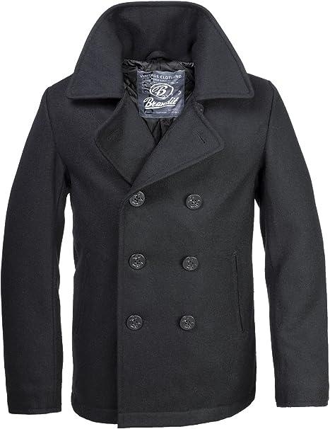 TALLA M. Brandit Mariner - Abrigo para hombre, estilo marinero, color negro