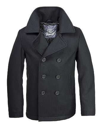 size 40 c2ab0 36f61 Brandit - Cappotto in stile marinaio, caban da uomo, colore: nero