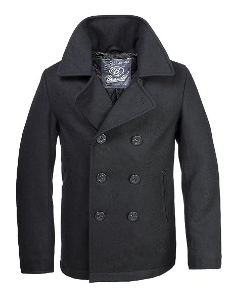 Brandit Hombre Chaqueta Mariner Pea Coat Abrigo Negro: Amazon.es: Ropa y accesorios