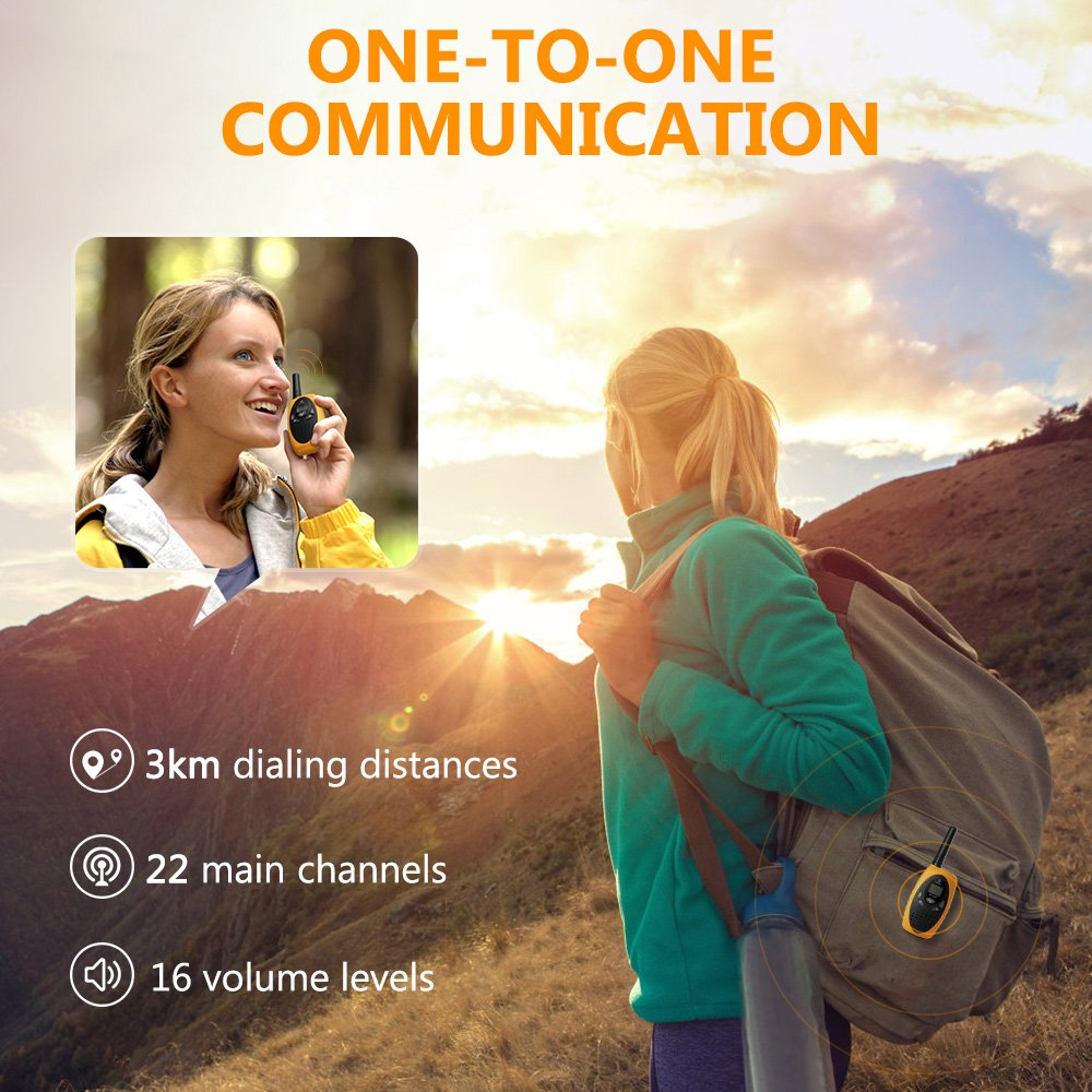 Walkie Talkies Two Way Radios, Handheld Talkies Talky Toys for Kids, 22 Channel 3KM(1.9MI) Quality Sound Interphone Long Range for Outdoor Camping Hiking, 2 Pack Yellow by Z ZANMAX (Image #4)
